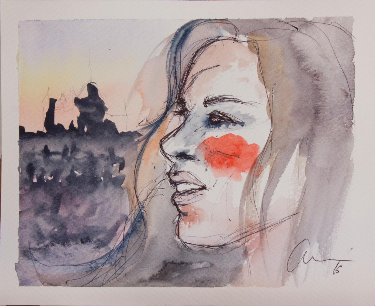 Selfportrait. Watercolor and pen. Acuarela y boli bic