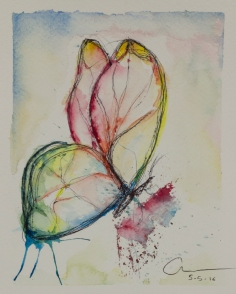 4th Butterfly,Collecting Butterflies. Watercolor and pen 13.5 x 18 x 0.2 cm. VENDIDA
