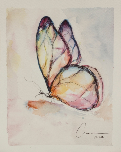 1st Butterfly, Collecting Butterflies. Watercolor and pen 13.5 x 18 x 0.2 cm. VENDIDA