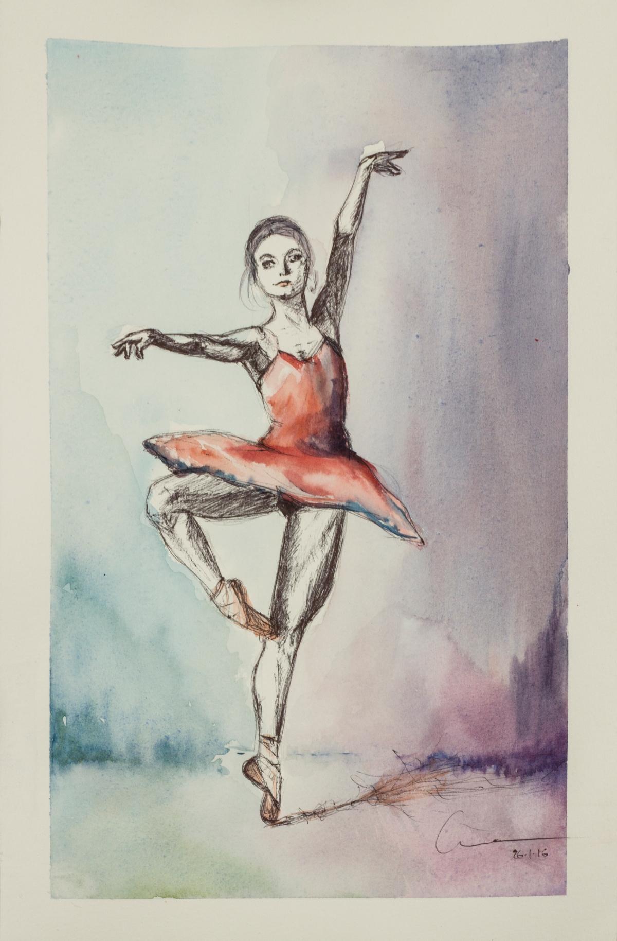 Unruhe's sketch Watercolor and pen. Bailarinas