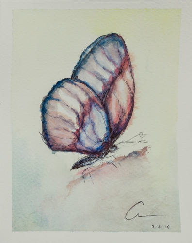 3rd Butterfly, Collecting Butterflies.Watercolor and pen 13.5 x 18 x 0.2 cm.