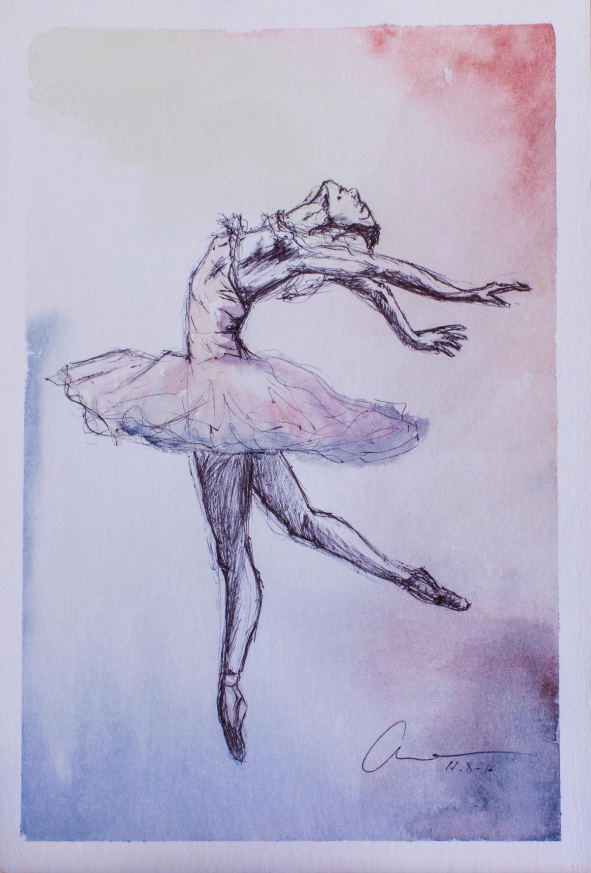 Bailarina. Watercolor and pen.